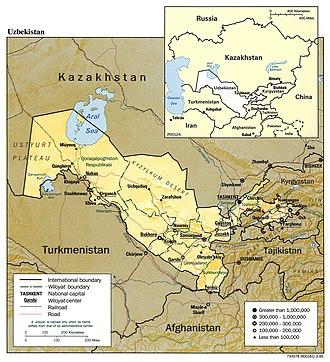 Geography of Uzbekistan - Detailed map of Uzbekistan, 1995