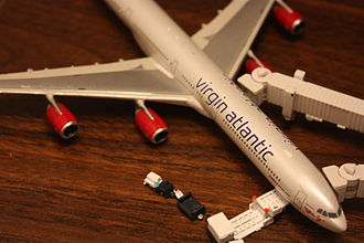 Pad printing - Tampography is commonly used to print decals onto diecast models, such as this model Airbus A340, as the resultant printed decals are resistant to fading.
