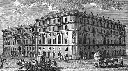 The headquarters of the Propaganda fide in Rome with north facade on Piazza di Spagna by architect Bernini; seen here is the southwest facade by Borromini: etching by Giuseppe Vasi, 1761 VasiPropagandaFide.jpg