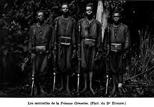 Atrocities in the Congo Free State - Force Publique soldiers photographed in 1900