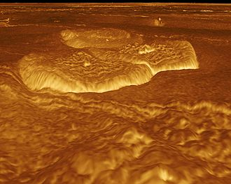 Geology of Venus - Computer generated perspective view of pancake domes in Venus's Alpha Regio. The domes in this image average 25 km in diameter.