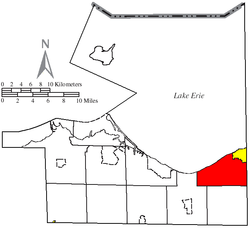 Location of Vermilion Township (red) in Erie County, adjacent to the city of Vermilion