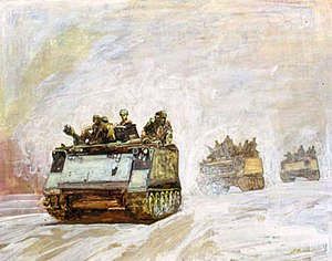 Armoured cavalry - APC by David E. Graves, Vietnam Combat Artists Program, CAT IX, 1969-70. Courtesy of National Museum of the U. S. Army.