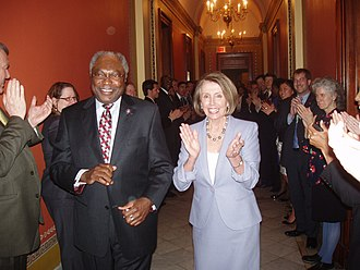 Patient Protection and Affordable Care Act - Jim Clyburn and Nancy Pelosi celebrating after the House passes the amended bill on March 21