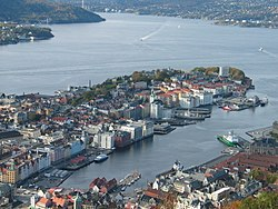 View from Mt Fløyen showing Vågen in Bergen Norway 20091013.JPG