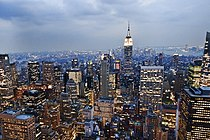View of the Empire State Building from the Rockefeller Center observation deck NYC - 18 August 2009.jpg