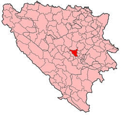 Location of Visoko within Bosnia and Herzegovina.