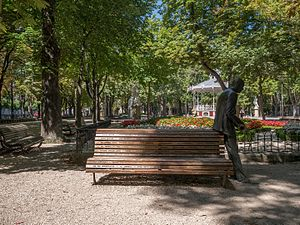 Vitoria-Gasteiz jazz festival - Sculpture of Wynton Marsalis and bench showing names of musicians who performed at the festival over the years, in a city park of Vitoria