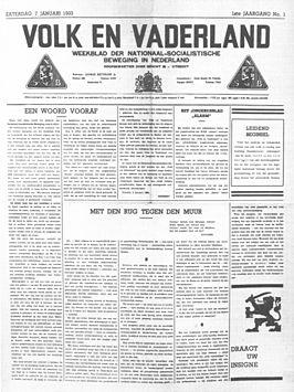 Eerste nummer van NSB-orgaan Volk en Vaderland, 7 januari 1933