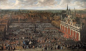 François Duchatel - The Inauguration of Charles II, King of Spain, as Count of Flanders, in 1666, in the Vrijdagsmarkt at Ghent, 1666-1668, now in the Museum of Fine Arts, Ghent