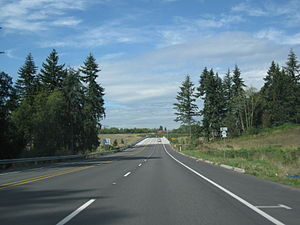 Washington State Route 502 - SR 502 westbound approaching its western terminus, an interchange with I-5.