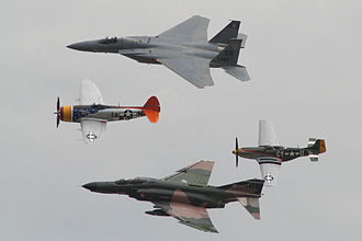 Ellington Airport (Texas) - World War II, Vietnam era and modern US aircraft flying in formation at Wings Over Houston at Ellington Airport