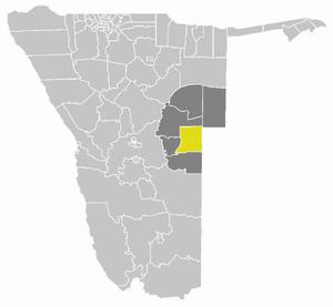 Kalahari Constituency - Kalahari Constituency (yellow) in the Omaheke Region (dark grey)