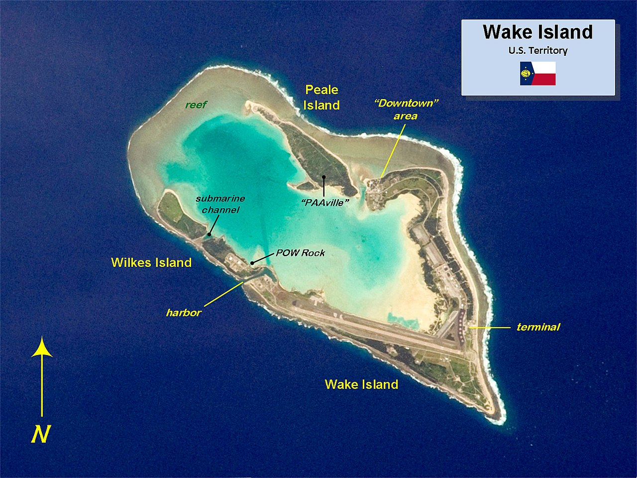 Map of Wake Island as it looks today.