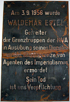 """Escape attempts and victims of the inner German border - East German memorial to border guard Waldemar Estel, killed by """"imperialist agents"""" on 3 September 1956."""