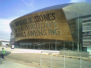 Cardiff Bay - The Wales Millennium Centre, seen from Roald Dahl Plass