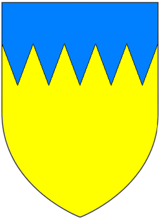 Theobald Walter, 1st Chief Butler of Ireland - Arms of Walter, adopted at the start of the age of heraldry: Or, a chief indented azure. These arms are borne in the first quarter of the arms of the Butler family, Marquess of Ormonde (the arms of Butler are born in the 2nd) reflecting that family's descent in the male line from Theobald Walter
