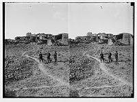 War views of Neby Samuel (Mizpah). Ruined village of Neby Samuel. LOC matpc.02236.jpg