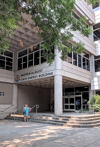 California Energy Commission - The front entrance of the California Energy Commission's Warren–Alquist Energy Building in Sacramento