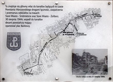The city's sewer system was used to move resistance fighters between the Old Town, Srodmiescie and Zoliborz districts. Warszawa-tablica na ul Dlugiej.jpg