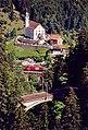 Wassen Church behind Upper&MiddleMeienreussBridges ofGotthardbahn fromRoad toSustenPass.jpg