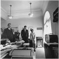 Watching flight of Astronaut Shepard on television. Attorney General Kennedy, McGeorge Bundy, Vice President Johnson... - NARA - 194236.tif