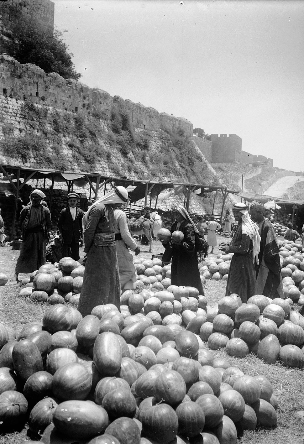 Watermelon market. Jerusalem. approximately 1900 to 1920. matpc.05613