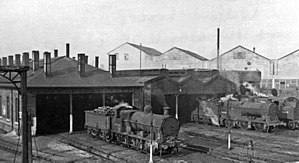 Watford and Rickmansworth Railway - LNWR steam locomotives in the depot at Watford Junction, the northern terminus