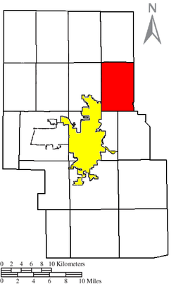 Location of Weller Township (red) in Richland County, next to the city of Mansfield (yellow).