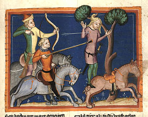 Absalom - The death of Absalom, hanging from a tree by his hair (14th-century German miniature).