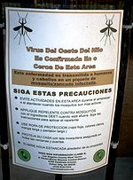 West Nile virus warning sign in Southern California.