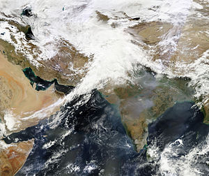 Western Disturbance - A strong western disturbance affecting the northern parts of the Indian subcontinent in February 2013. Such disturbances bring substantial amount of rainfall and are a threat to lives and property.