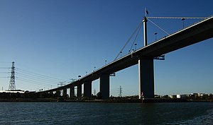 East West Link (Melbourne) - The West Gate Bridge, Melbourne, which was built to handle 40,000 vehicles a day and is now used by 165,000 a day.