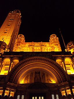 Westminster Cathedral facade at night