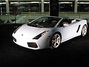 White Lambo Gallardo Spyder on display.jpg