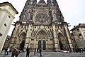 Wide view of the bottom of the west facade of St. Vitus Cathedral, 2014-03-06.jpg