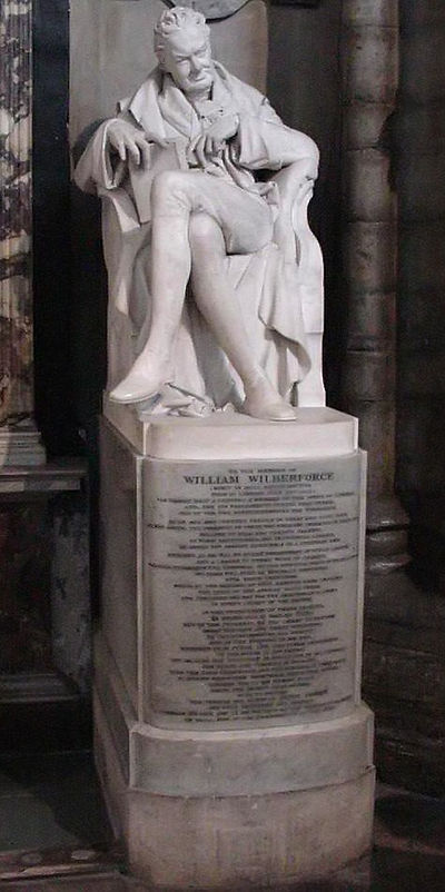 Wilberforce was buried in Westminster Abbey next to Pitt. This memorial statue, by Samuel Joseph (1791-1850), was erected in 1840 in the north choir aisle. Wilberforce.jpg