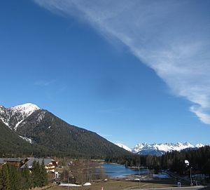 Seefeld in Tirol - The lake that gave Seefeld its name: the Wildsee. Behind: the Kalkkögel
