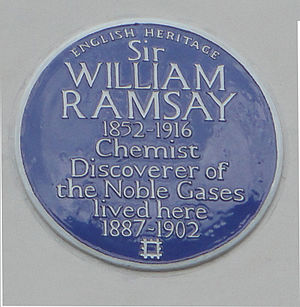 William Ramsay - Blue Plaque at 12 Arundel Gardens commemorating the work of William Ramsay.