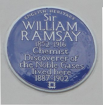 Blue plaque at 12 Arundel Gardens commemorating the work of William Ramsay