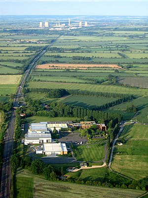 Grove, Oxfordshire - Aerial view with the Williams F1 base in the foreground, looking east to Didcot Power Station
