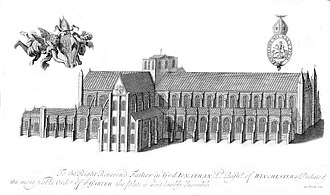 Winchester Cathedral - A 1723 engraving of Winchester Cathedral