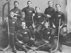 Dan Bain -  alt = Eight young men pose wearing identical sweaters with a buffalo logo on their right breast. They are all in hockey skates and holding sticks