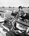 Woman, portrait, summer, pier, bathrobe, reed, water surface, boat Fortepan 73142.jpg