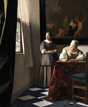 Woman writing a letter, with her maid, by Johannes Vermeer.jpg