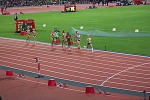 Brianne Theisen-Eaton - Theisen Eaton (2nd from the right) competing at the 2012 Summer Olympics in London in the 800 m portion of the heptathlon.