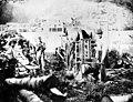 Woodcutters chopping wood for donkey operation, Fisk logging camp, near Acme, Oregon, 1900 (INDOCC 314).jpg