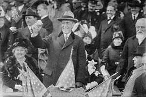 1915 World Series - President Woodrow Wilson throws out the ceremonial first pitch