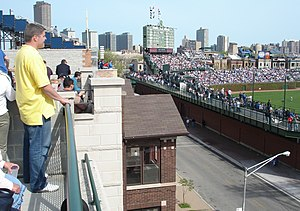 Wrigley Field - April 2006 view from a rooftop across Waveland Avenue