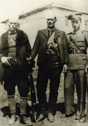 Albanian nationalism (Republic of Macedonia) - Xhem Hasa (centre) with his brothers, Musli Hasa (left) and Abdullah Hasa (right)